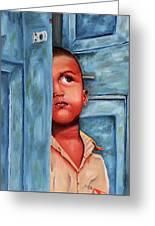Boy Waiting At Door Greeting Card