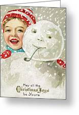 Boy With A Snowman Greeting Card