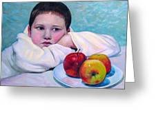 Boy With Apples Greeting Card