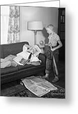 Boy With Baseball Vs. Napping Dad Greeting Card