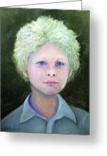 Boy With Curly Hair Greeting Card