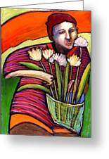 Boy With Flowers Greeting Card