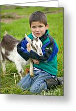 Boy With Goat Greeting Card
