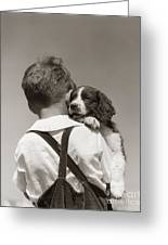 Boy With Puppy, C.1930-40s Greeting Card