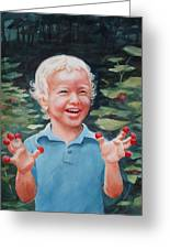 Boy With Raspberries Greeting Card