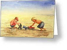 Boys And Trucks On The Beach Greeting Card