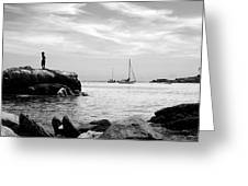 Boys At Boothbay Harbor Greeting Card