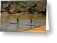 Boys On A Raft In China Greeting Card