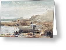 Boys On The Beach Greeting Card