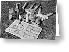 Boys Reading Newspaper Comics, C.1950s Greeting Card