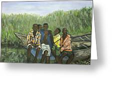 Boys Sitting On The Boat Uganda Greeting Card by Reb Frost