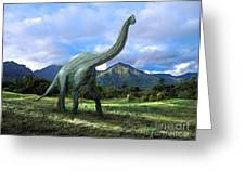 Brachiosaurus In Meadow Greeting Card by Frank Wilson