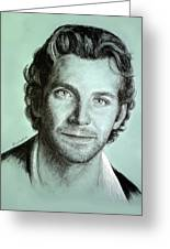 Bradley Cooper Charcoal Portrait Greeting Card