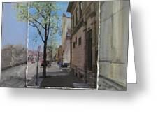 Brady Street With Tree Layered Greeting Card