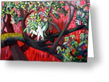 Branch In The Red Greeting Card