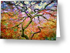 Branching Out In Autumn Neon Greeting Card