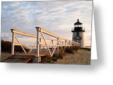 Brant Point Lighthouse And Walkway - Nantucket Greeting Card
