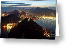 Brasil,rio De Janeiro,pao De Acucar,viewpoint,panoramic View,copacabana At Night Greeting Card by Juergen Held