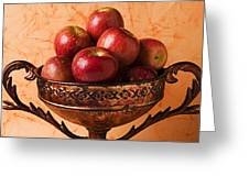Brass Bowl With Fuji Apples Greeting Card