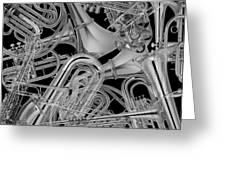 Brass Instruments Bw Greeting Card