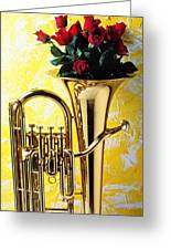 Brass Tuba With Red Roses Greeting Card