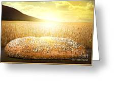 Bread And Wheat Cereal Crops At Sunset Greeting Card