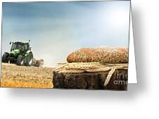 Bread And Wheat Cereal Crops.traktor On The Background Greeting Card
