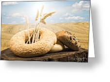 Bread And Wheat Ears. Greeting Card by Deyan Georgiev