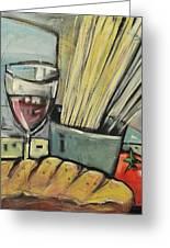 Bread Pasta Wine Greeting Card