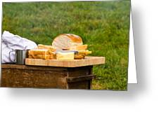 Bread With Butter On Cutting Board Greeting Card