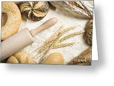 Breads. Pile Of Flour, Rolling Pin And Wheat Greeting Card