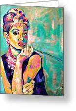Audrey Hepburn Painting, Breakfast At Tiffany's Greeting Card