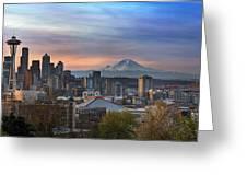 Breaking Dawn In Seattle Greeting Card