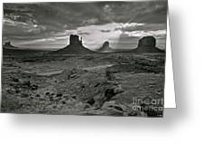 Breaking Light At Monument Valley - Black And White Greeting Card