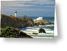 Breaking Waves At Yaquina Head Lighthouse Greeting Card