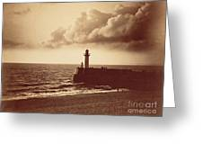 Breakwater At Sete Greeting Card