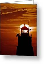Breakwater Light Sunset Greeting Card