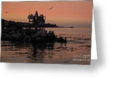 Breakwater Sunset Greeting Card