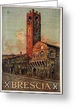 Brescia, Italy - Birds Flying Around Tower - Retro Travel Poster - Vintage Poster Greeting Card