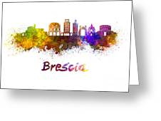 Brescia Skyline In Watercolor Greeting Card
