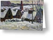 Breton Village Under Snow Greeting Card by Paul Gauguin