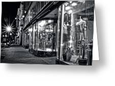 Brewery And Boutique In Black And White Greeting Card