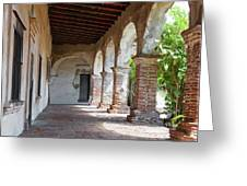 Brick And Stone Arches Line Walkway In Old Mission Ruin Greeting Card