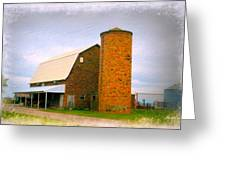 Brick Barn And Silo Greeting Card