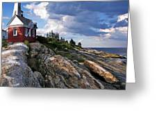 Brick Bell House At Pemaquid Point Light Greeting Card