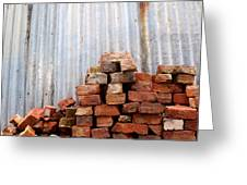 Brick Piled Greeting Card by Stephen Mitchell