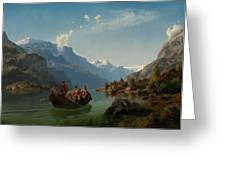 Bridal Procession On The Hardangerfjord Greeting Card