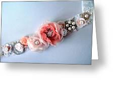 Bridal Sash Belt With Flowers And Rhinestones Greeting Card