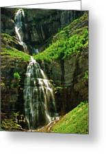 Bridal Veil Falls Canvas 3 Greeting Card