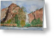 Bridalveil Fall At Yosemite  Greeting Card
